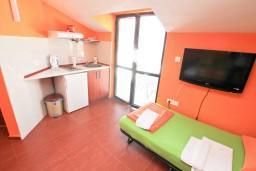 Студия (гостиная+кухня). Боко-Которская бухта, Черногория, Прчань : Студия для 3 человек, с балконом с шикарным видом на море, 20 метров до пляжа