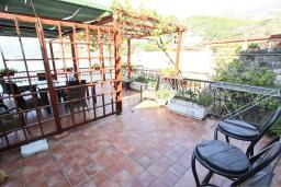 Терраса. Будванская ривьера, Черногория, Пржно : Комната для 2-4 человек, с общей террасой с шикарным видом на море, возле пляжа