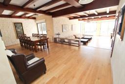 Гостиная. Будванская ривьера, Черногория, Бечичи : Современная вилла-люкс в Бечичи с 5-ю отдельными спальнями, с большой гостиной, с 6-ю ванными комнатами и туалетом, с тренажерным залом, сауной, бассейном, барбекю, с гаражом с 4 парковочными местами, с собственным теннисным кортом, Wi-Fi