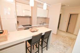 Кухня. Бечичи, Черногория, Бечичи : Апартамент с просторной гостиной, двумя спальнями и балконом с видом на море.