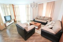 Гостиная. Будванская ривьера, Черногория, Бечичи : Апартамент с просторной гостиной, двумя спальнями и балконом с видом на море.