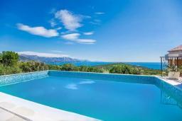 Бассейн. Будванская ривьера, Черногория, Кримовица : Вилла с бассейном и шикарным видом на море, гостиная, 4 спальни, 3 ванные комнаты, терраса для отдыха, Wi-Fi
