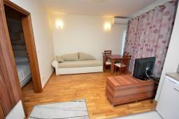 Гостиная. Рафаиловичи, Черногория, Рафаиловичи : Апартамент в 50 метрах от пляжа, с гостиной, отдельной спальней и балконом