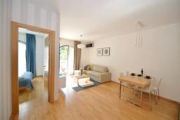 Гостиная. Боко-Которская бухта, Черногория, Котор : Апартамент в 20 метрах от пляжа, с гостиной, отдельной спальней и террасой