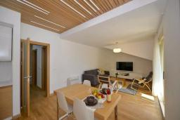 Гостиная. Боко-Которская бухта, Черногория, Котор : Апартамент в 20 метрах от пляжа c балконом и видом на море, с гостиной, 3-мя спальнями и 2-мя ванными комнатами
