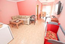 Гостиная. Рафаиловичи, Черногория, Рафаиловичи : Современный трёхкомнатный апартамент на 4-6 человек, с двумя отдельными спальнями, с балконом с видом на море