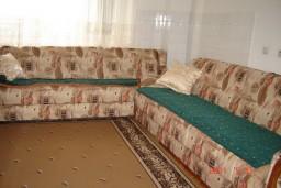 Гостиная. Будванская ривьера, Черногория, Будва : Апартамент с 3-мя спальнями, на 7 человек, на 1-м этаже дома с собственным огороженным участком, 100 метров от моря.
