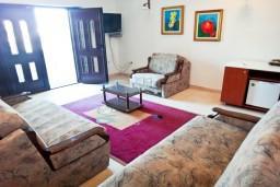 Гостиная. Будванская ривьера, Черногория, Рафаиловичи : 3-х этажная вилла на берегу моря в Рафаиловичи с большой гостиной, с 4-мя отдельными спальнями, 4-мя ванными комнатами, спутниковое ТВ, Wi-Fi, с большой террасой и лежаками