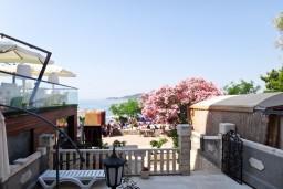 Вид. Будванская ривьера, Черногория, Рафаиловичи : 3-х этажная вилла на берегу моря в Рафаиловичи с большой гостиной, с 4-мя отдельными спальнями, 4-мя ванными комнатами, спутниковое ТВ, Wi-Fi, с большой террасой и лежаками