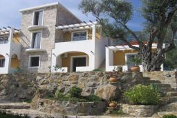Фасад дома. Бечичи, Черногория, Бечичи : Апартамент с отдельной спальней и террасой