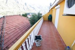 Балкон. Боко-Которская бухта, Черногория, Прчань : Апартамент для 4-5 человек, 2 отдельные спальни, 2 ванные комнаты, с балконом с шикарным видом на залив, 100 метров до моря