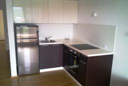 Кухня. Бечичи, Черногория, Бечичи : Современный апартамент с отдельной спальней, с балконом с видом на море